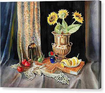 Still Life With Sunflowers Lemon Apples And Geranium  Canvas Print by Irina Sztukowski