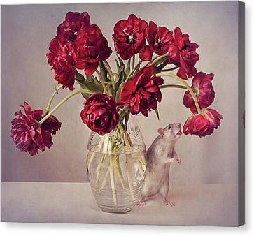 Still Life With Tulips :) (expensive Vase.....uploaded For The Weekly Theme expensive Canvas Print by Ellen Van Deelen