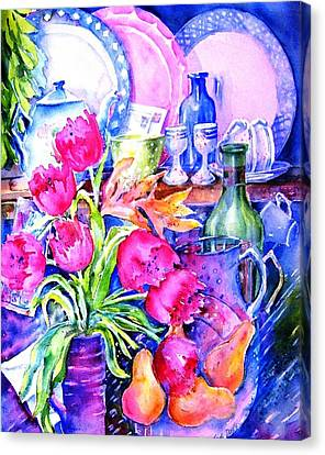 Still Life With Tulips  Canvas Print by Trudi Doyle