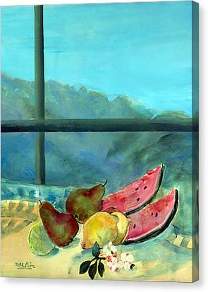 Still Life With Watermelon Canvas Print by Marisa Leon