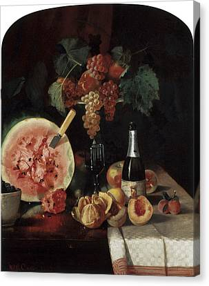 Still Life With Watermelon Canvas Print by William Merritt Chase