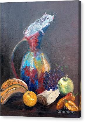Still Life With White Mouse Canvas Print by Irene Pomirchy