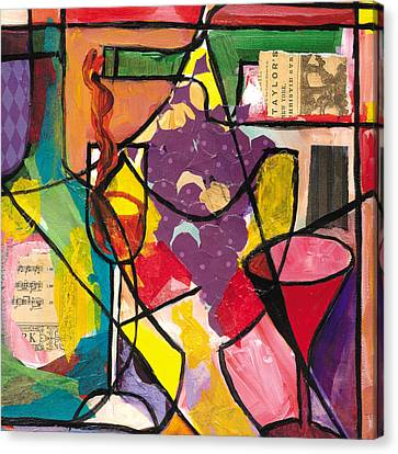 Still Life With Wine And Fruit B Canvas Print by Everett Spruill