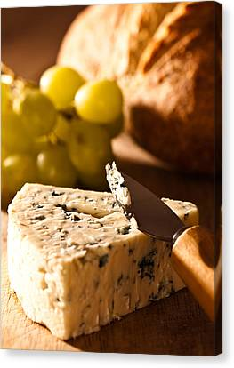 Stilton Cheese With Grapes Canvas Print by Amanda And Christopher Elwell