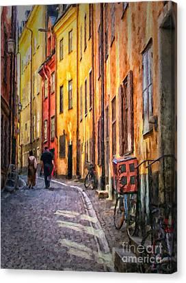 Stockholm Gamla Stan Painting Canvas Print by Antony McAulay