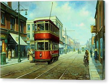 Stockport Tram. Canvas Print by Mike  Jeffries