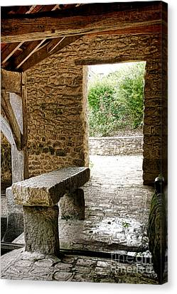 Stone Bench Canvas Print by Olivier Le Queinec