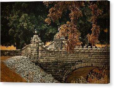 Stone Bridge In Autumn Canvas Print by Jai Johnson