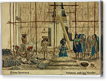 Stone-hewers And Women Making Mortar Canvas Print by British Library