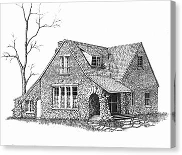 Stone House Pen And Ink Canvas Print by Renee Forth-Fukumoto
