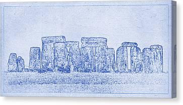 Stonehenge Blueprint Canvas Print by Justin Woodhouse