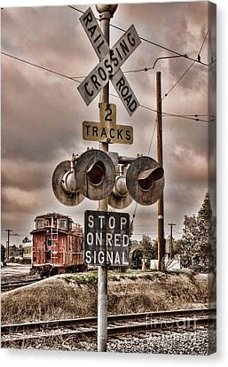 Stop On Red Signal Canvas Print by Peggy Hughes