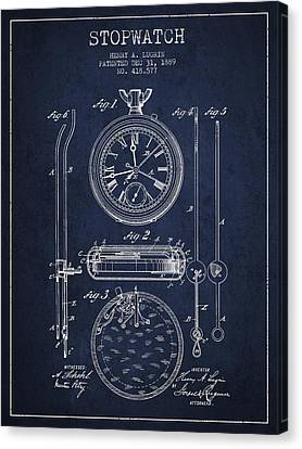 Stopwatch Patent Drawing From 1889 Canvas Print by Aged Pixel