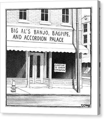 Store Front Window. Store Name Is Big Al's Banjo Canvas Print by Matthew Diffee