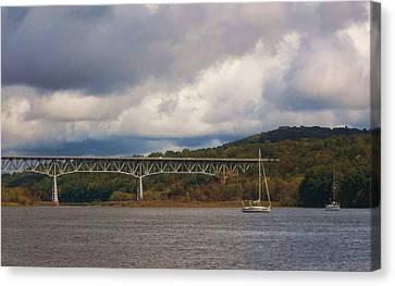 Storm Brewing Over Rip Van Winkle Bridge Canvas Print by Ellen Levinson