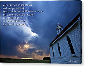 Storm Clouds And Scripture Matthew Country Church Canvas Print by Mark Duffy