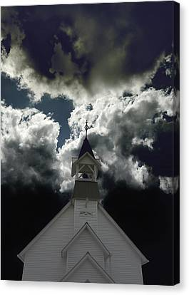 Storm Clouds At Prairie Chapel  Canvas Print by Ann Powell