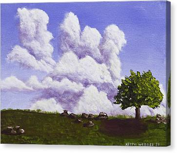 Storm Clouds Over Maine Blueberry Field Canvas Print by Keith Webber Jr