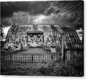 Storm Coming In On The Farm Canvas Print by Thomas Young