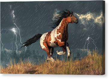 Storm Mustang Canvas Print by Daniel Eskridge