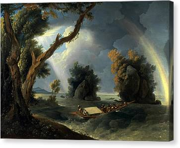 Storm On The Ganges With Mrs Hastings Near The Colgon Rocks Canvas Print by William Hodges