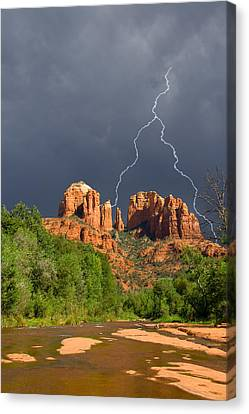 Storm Over Cathedral Rock Canvas Print by Alexey Stiop
