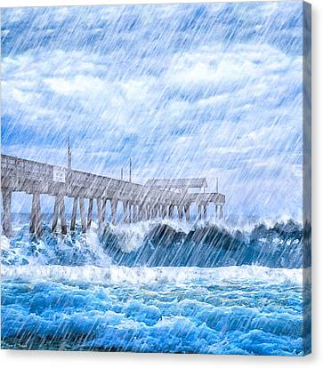 Storm Over The Sea - Tybee Pier Canvas Print by Mark E Tisdale