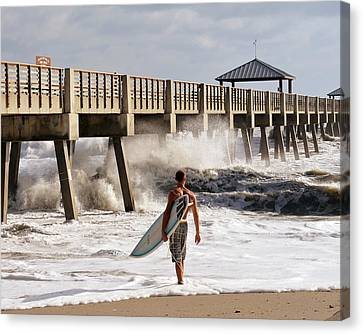 Storm Surfer Canvas Print by Laura Fasulo