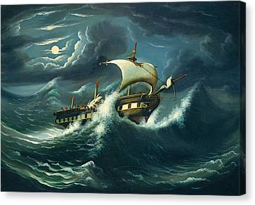 Storm-tossed Frigate Canvas Print by Thomas Chambers