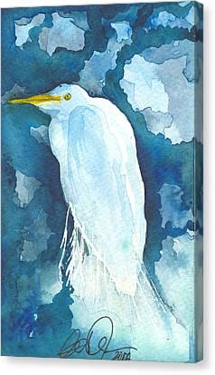 Stormy Egret Canvas Print by Christine Callahan