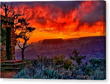 Stormy Sunset At The Watchtower Canvas Print by Greg Norrell
