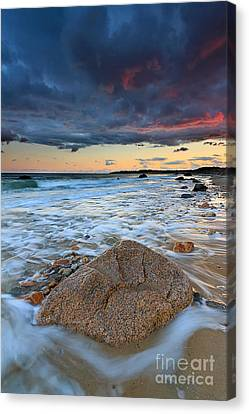 Stormy Sunset Seascape Canvas Print by Katherine Gendreau