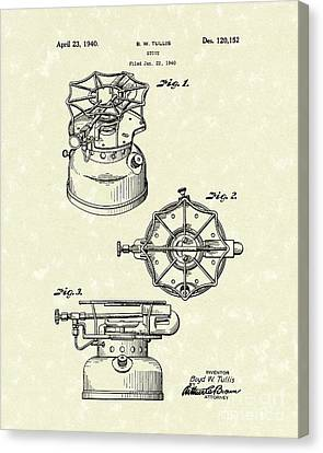 Stove 1940 Patent Art Canvas Print by Prior Art Design