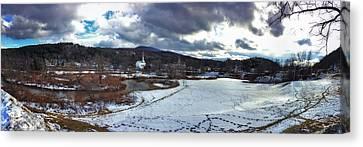 Stowe Vermont Winter Scene Panoramic Canvas Print by Joann Vitali
