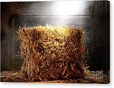 Straw Bale In Old Barn Canvas Print by Olivier Le Queinec