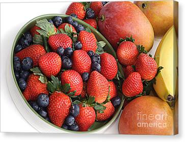 Strawberries Blueberries Mangoes And A Banana - Fruit Tray Canvas Print by Andee Design