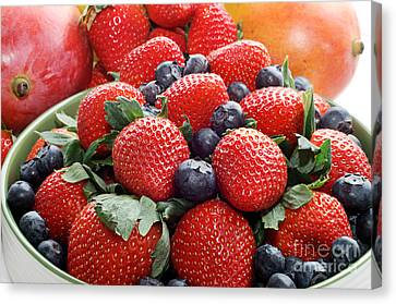 Strawberries Blueberries Mangoes - Fruit - Heart Health Canvas Print by Andee Design