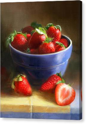 Strawberries On Yellow And Blue Canvas Print by Robert Papp