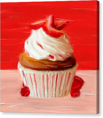 Strawberry Cupcake Canvas Print by Lourry Legarde