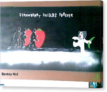 Strawberry Shields Forever Canvas Print by MERLIN Vernon