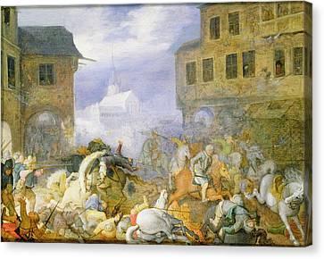 Street Battle In The Malostranske Canvas Print by Roelandt Jacobsz. Savery