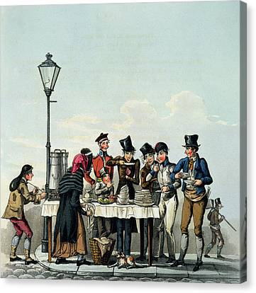 Street Breakfast Engraved By G.hunt Canvas Print by English School