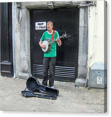 Street Busker Ireland Canvas Print by Brenda Brown