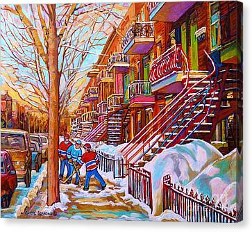 Street Hockey Game In Montreal Winter Scene With Winding Staircases Painting By Carole Spandau Canvas Print by Carole Spandau