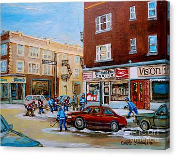 Street Hockey On Monkland Avenue Paintings Of Montreal City Scenes Canvas Print by Carole Spandau