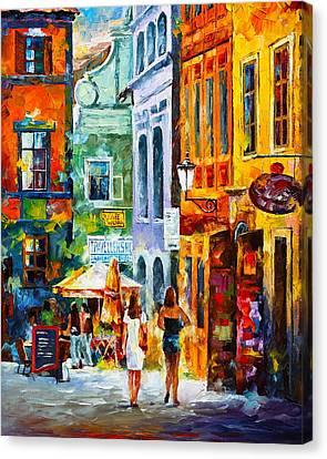 Street In Amsterdam Canvas Print by Leonid Afremov