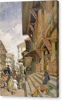 Street In Bombay, From India Ancient Canvas Print by William 'Crimea' Simpson