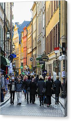 Street In Gamla Stan - The Old Part Of Stockholm - Sweden Canvas Print by David Hill