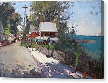 Street In Olcott Beach  Canvas Print by Ylli Haruni