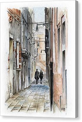 Street In Venice - Watercolor - Yakubovich Canvas Print by Daniel Yakubovich